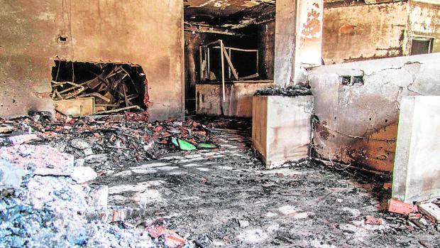 Dependencias del Ministerio de Economía quemadas por las protestas en la localidad de El Guedar