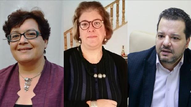 Por este orden: Nacia Chaabane, Faten Abdelkefi y Mounir Baatour