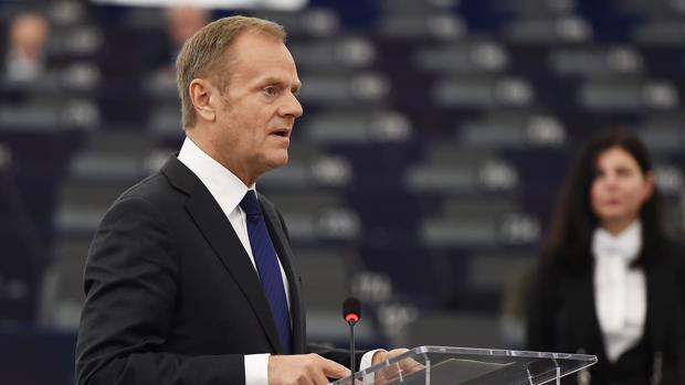 Donald Tusk, durante su intervención en el Parlamento Europeo