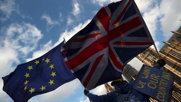 Protesta contra el Brexit, este martes junto al Parlamento de Londres