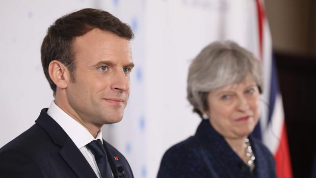 Emmanuel Macron y Theresa May, este jueves en la academia militar de Sandhurst