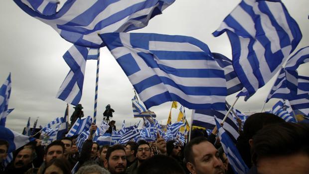 Fotografía tomada durante la manifestación del pasado domingo en Tesalónica