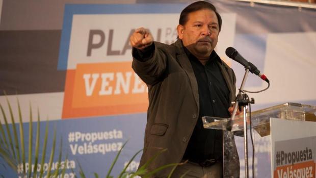 Andrés Velasquez, miembro de la coalición opositora MUD, durante una rueda de prensa este miércoles en Caracas