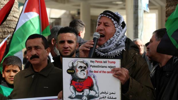 Protesta palestina contra Pence en la ciudad cisjordana de Nablus EFE