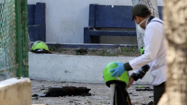 Atentado contra uno de los muros de la comisaría de Policía del barrio de San José, en Barranquilla (Colombia)