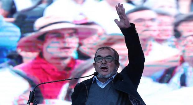Rodrigo Londoño, alias «Timochenko», durante el lanzamiento de su campaña de las presidenciales, este sábado en el sur de Bogotá