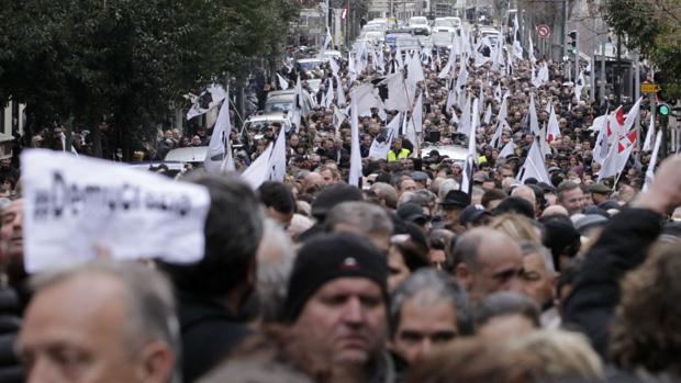Nacionalistas corsos en Ajjaccio durante la manifestación