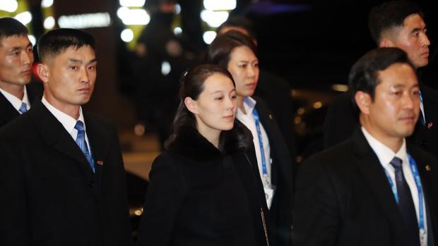 Kim Yo-jong, hermana del líder norcoreano, Kim Jong-un, y otros miembros de la delegación de alto nivel de Corea del Norte