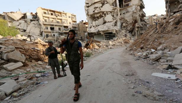 Combatientes rebeldes en una imagen de archivo en Alepo