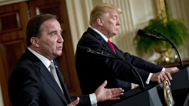 Stefan Lofven y Donald Trump en su rueda de prensa conjunta en la Casa Blanca