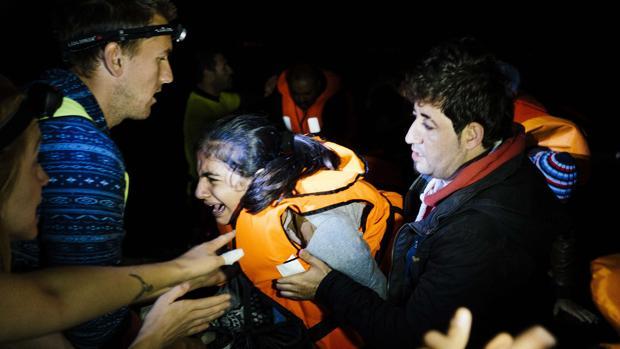 Llegada de migrantes a la isla de Lesbos desde Turquía en 2015