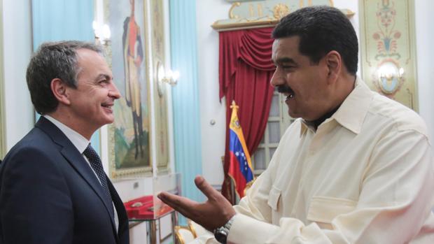 El expresidente Rodríguez Zapatero, don Nicolás Maduro, en una de sus visitas a Venezuela