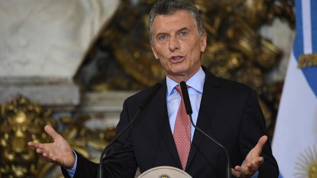 El presidente Mauricio Macri pronuncia un discurso en la Casa Rosada, en Buenos Aires