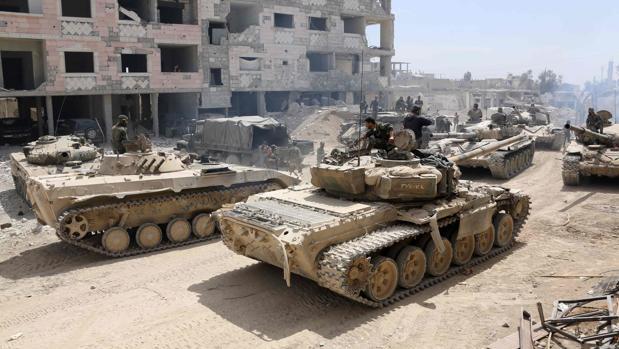 Imagen de archivo de soldados sirios en Duma