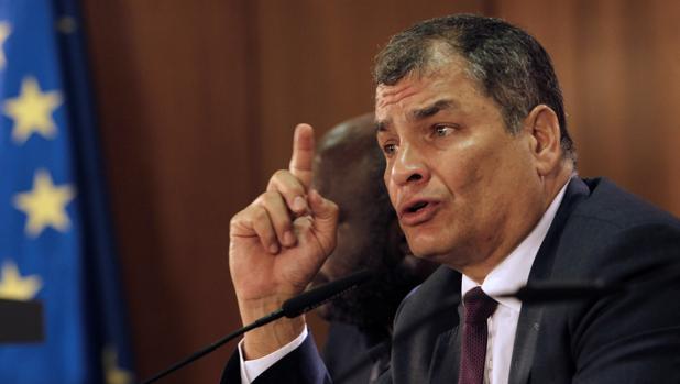 Rafael Correa, durante su intervención en el Club Internacional de Prensa en Madrid