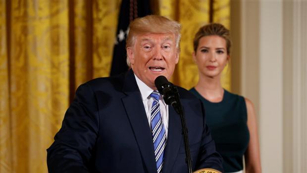 Trump durante un discurso en la Casa Blanca
