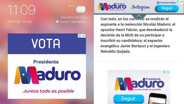 Propaganda de Maduro en redes sociales