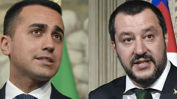 El líder del M5E, Luigi Di Maio, y el de la Liga Norte, Matteo Salvini