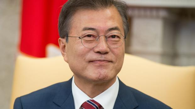 Moon Jae-in durante su visita a la Casa Blanca en Washington