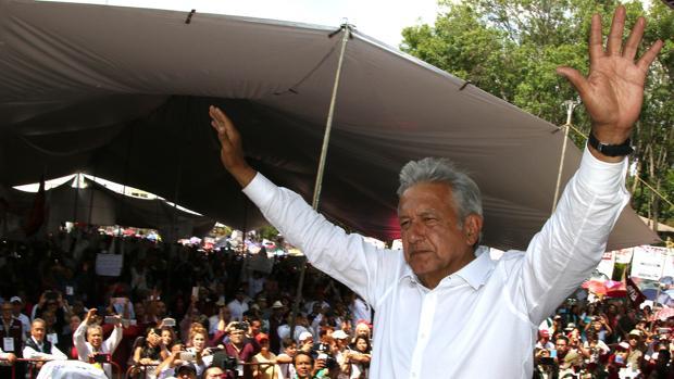 El izquierdista Andrés Manuel López Obrador durante un acto de campaña en el municipio de Apizaco, en Tlaxcala
