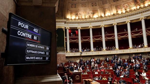 La vista muestra el panel de resultados de votación a favor del proyecto de reforma de la SNCF de los gobiernos franceses en la Asamblea Nacional en París