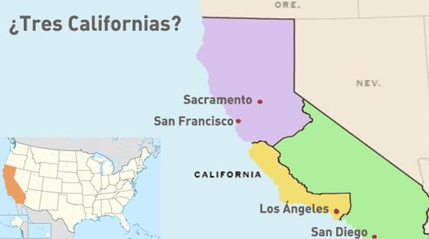 Cómo quedaría el estado de California con la división en tres nuevos estados