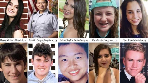 Algunas de las víctimas de la masacre en el instituto de Parkland el 14 de febrero del pasado año