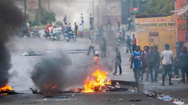 Manifestantes participan en una protesta el pasado viernes en Puerto Príncipe