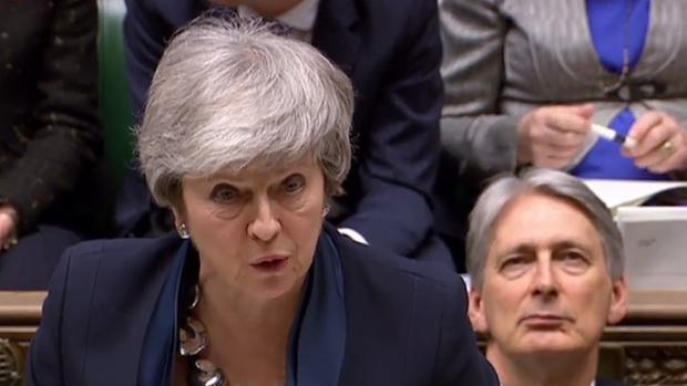 La primera ministra británica, Theresa May, durante su declaración