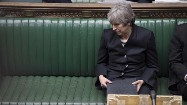 Theresa May, este jueves durante la sesión en la Cámara de los Comunes