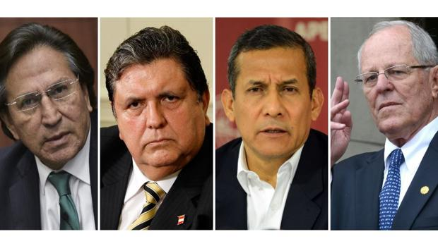 De izquierda a derecha, Alejandro Toledo, Alan García, Ollanta Humala y Pedro Pablo Kuczynski