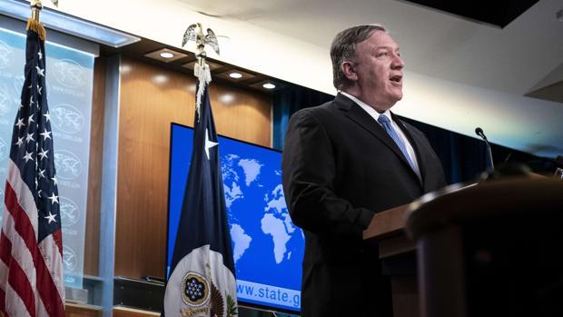 El secretario de Estado de EE.UU., Mike Pompeo, durante su intervención ante la prensa