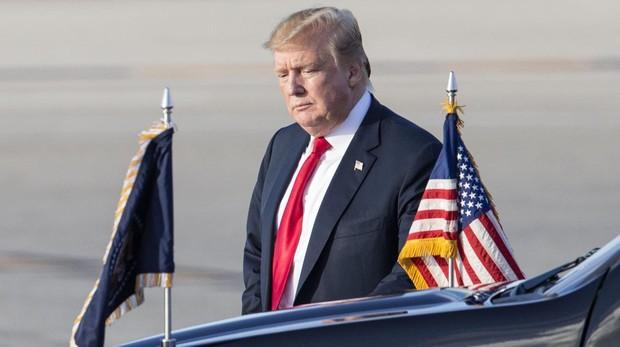 Donald Trump, a su llegada al aeropuerto internacional de Palm Beach