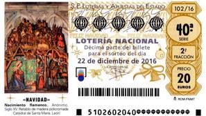 El retablo del alfa y omega, de la catedral de León a los décimos de la Lotería de Navidad 2016