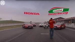 Honda junta a la vez el Type-R, el Civic WTCC de carreras y su moto de MotoGP