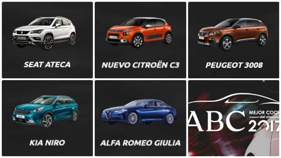 Los cinco finalistas de esta edición, de entre los cuales el jurado elegirá el ganador, son el Seat Ateca, el Citröen C3, el Kia Niro, el Peugeot 3008 y el Alfa Giulia