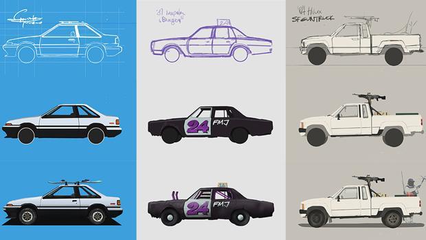 El proceso que sigue el artista para crear algunas de sus ilustraciones cotidianas sobre la automoción