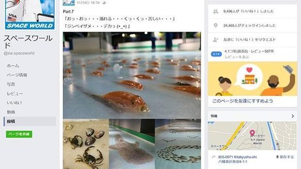 Perfil en una red social del parque temático japonés Space World