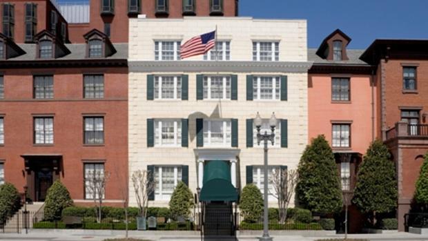 Fachada de la residencia para invitados de la Casa Blanca