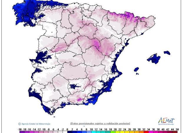 Mapa de las temperaturas mínimas de este 9 de febrero