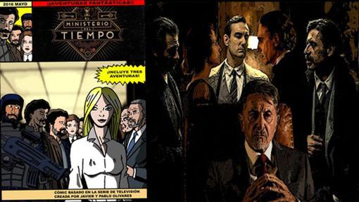 Detalles del cómic de El Ministerio del Tiempo (bueno lo de la derecha es una foto con photoshop)