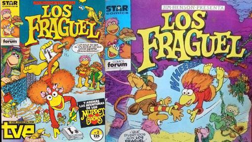 Las portadas de los dos primeros nºs de Los Fragguel (Fraggle Rock)
