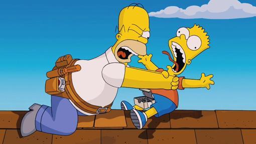 Una tipica escena familiar entre Homer y Bart