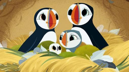 Baby, Oona y sus padres, la familia de frailecillos de Puffin Rock