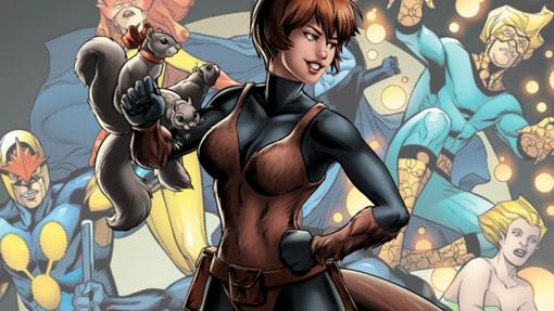 La Chica Ardilla y detrás, algunos de los miembros de los New Warriors, equipo en el que incluso ha militado Spider-Man