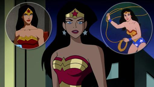 Ebn el Centro la Wonder Woman de Justice League Unlimited. Arriba a la izquierda la de Young Justice y arriba a la derecha la de Los Super Amigos