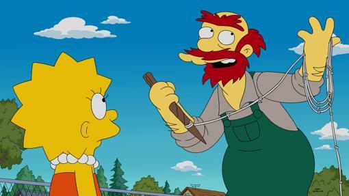 Willie, en una escena de 'Los Simpson' junto a Lisa.