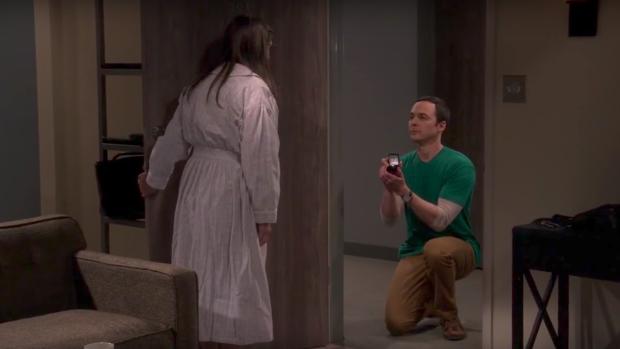Sheldon, en el momento de pedirle a Amy matrimonio.