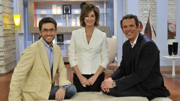 Màxim Huerta, Ana Rosa Quintana y Joaquín Prats.