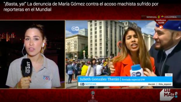 María Gómez (i), en directo en Mediaset.